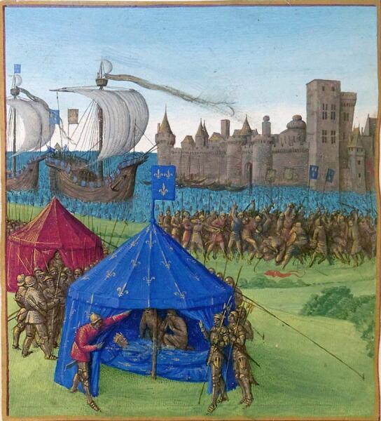 Смерть Людовика Святого: 25 августа 1270 года Людовик Святой умирает в своем шатре, украшенном королевскими символами, недалеко от Туниса