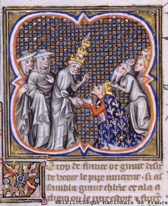 Папа Иннокентий IV с Людовиком IX в Клюни