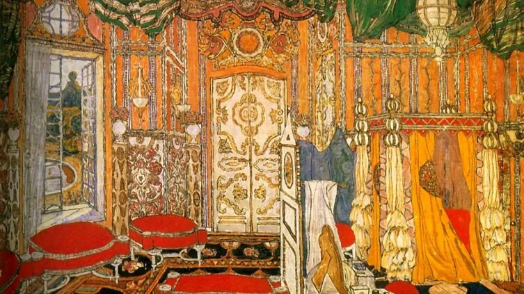 А. Я. Головин, «Спальня графини. Эскиз декорации к комедии П.-О. Бомарше «Безумный день или женитьба Фигаро»», 1927 г.
