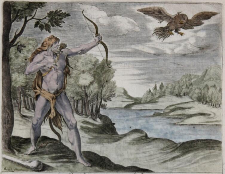 J. Briot, «Геракл убивает Периклимена», гравюра из книги «Овидий. Метаморфозы», 1738 г.