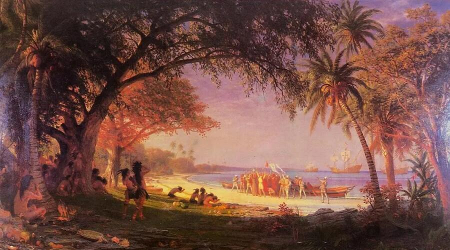 Альберт Бирштадт, «Высадка Колумба на острове Сан-Сальвадор», 1893 г.