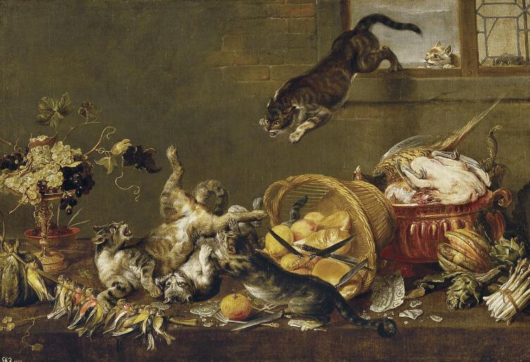 Пауль де Вос, «Кошки дерутся в кладовке»