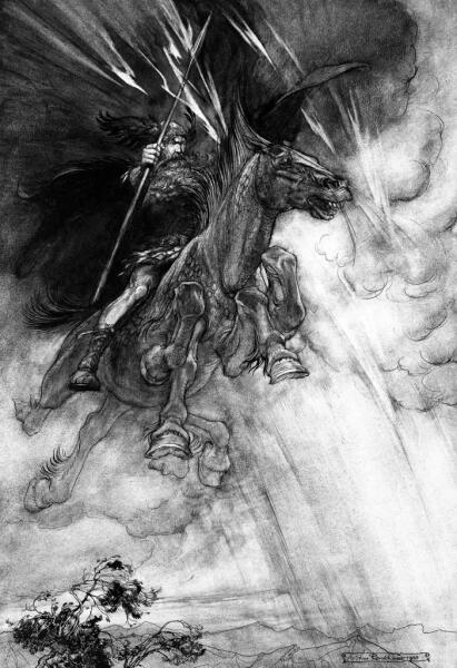 Артур Рэкхэм, «Вотан едет на грозовом облаке», 1910 г.