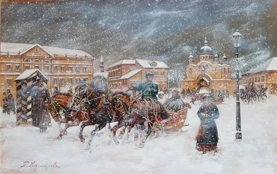 Б. М. Кустодиев, «Эпизод с санями»