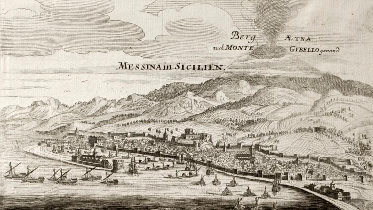 Старая карта Мессины, виден вулкан Этна