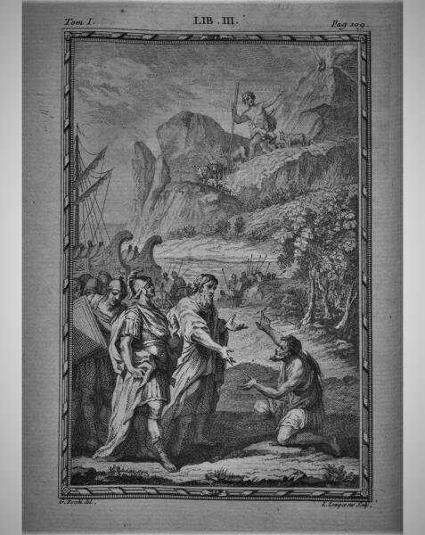 Джузеппе Дзокки, «Ахеменид и Полифем», иллюстрация к «Энеиде» Вергилия, 1760 г.