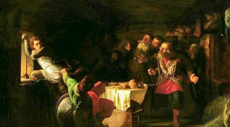 Г. Г. Мясоедов, «Бегство Григория Отрепьева из корчмы на литовской границе», 1862 г.