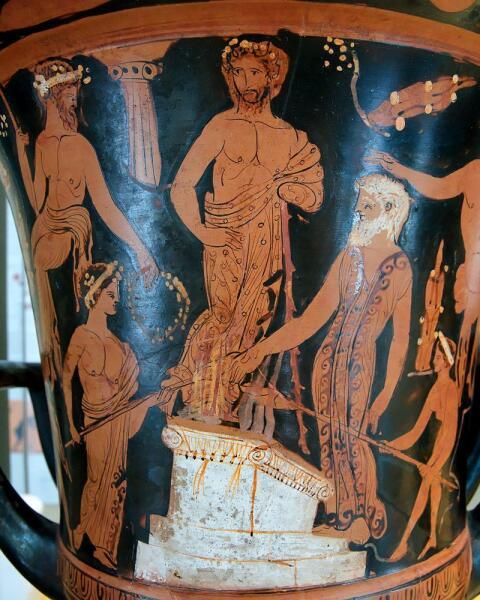 Нестор и его сыновья приносят жертву Посейдону на пляже в Пилосе. Аттический краснофигурный кратер