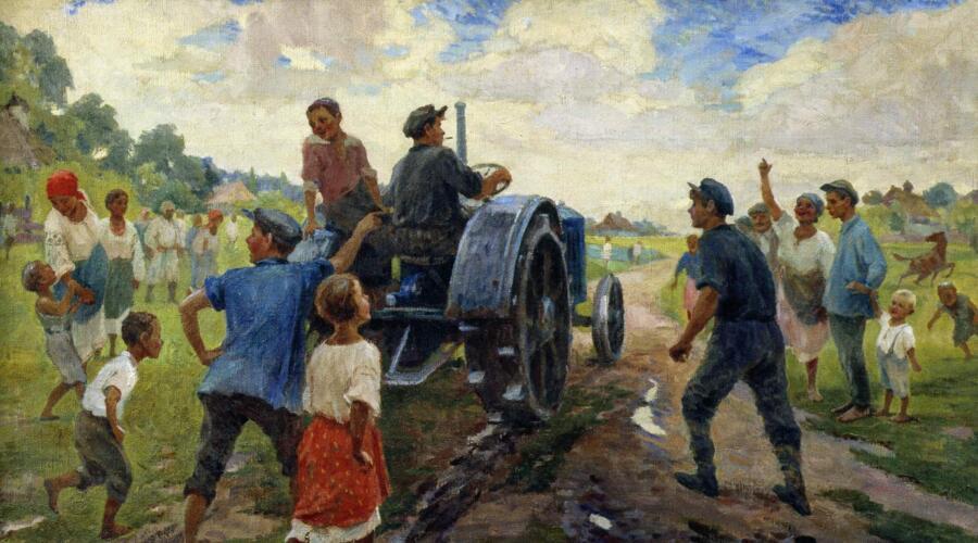 И. М. Шульга, «Первый трактор на селе», 1937 г.