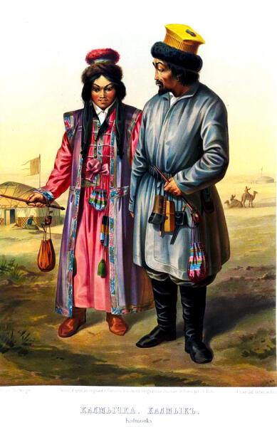 Калмыки в традиционной одежде, 1862 г.