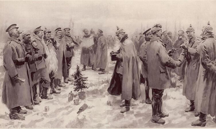 Немецкие и британские солдаты вместе празднуют Рождество 1914 года
