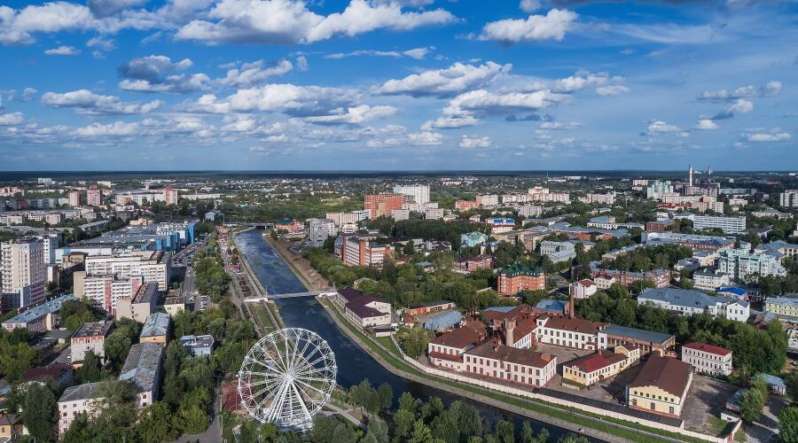 Аэрофотосъёмка города Иваново в районе цирка и Большой мануфактуры