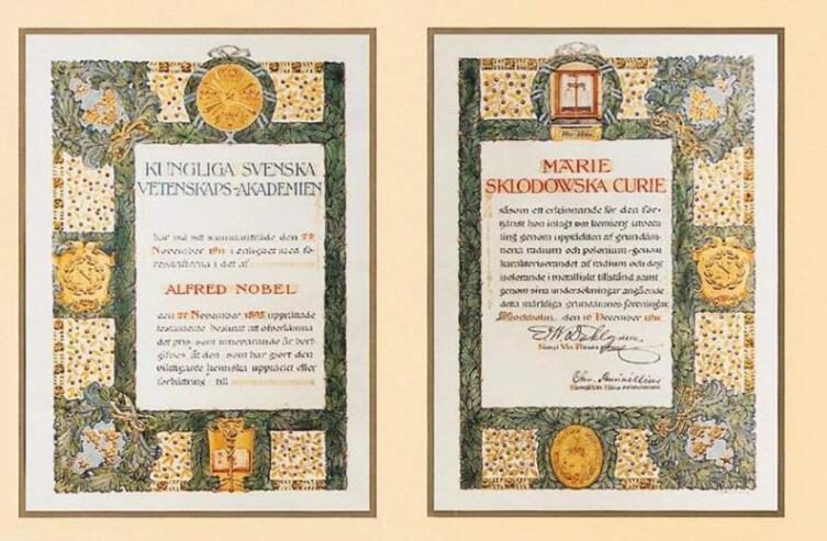 Диплом к Нобелевской премии по химии 1911 г.