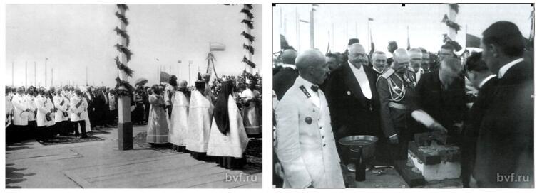 Коллаж автора. Молебен и закладка первого камня ВСХИ. 1912 г.