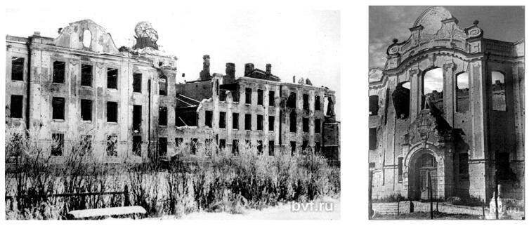 Фото 1944 г. Разрушенный фасад главного входа в институт