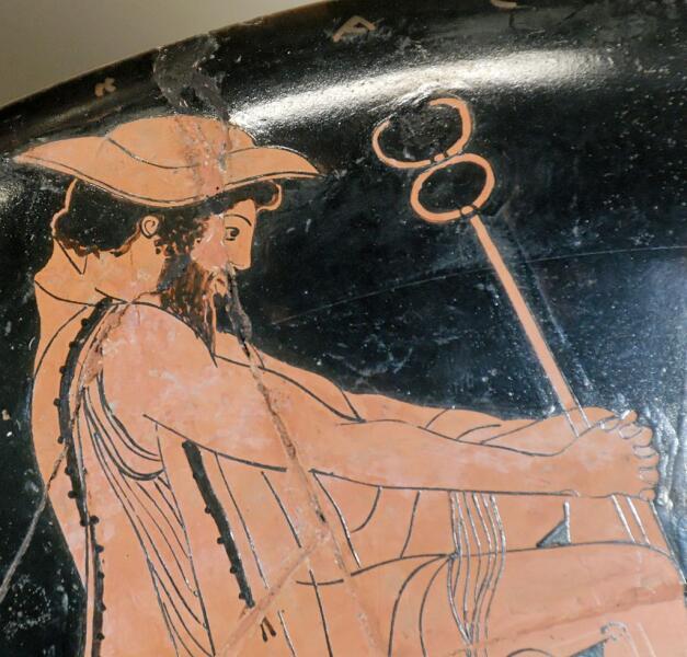 Гермес в петасе с кадуцеем. Античный кубок 480—470 годов до н. э. Краснофигурная вазопись