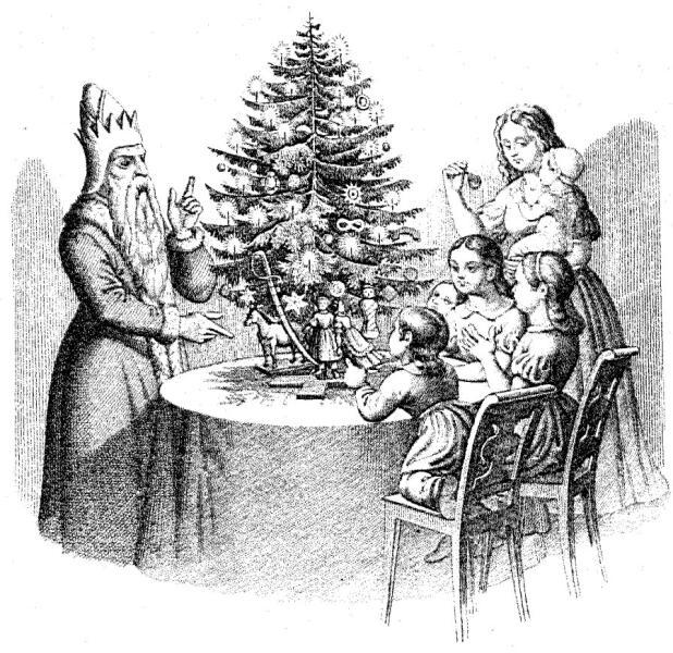 Дети и Санта Клаус у «дерева Клауса» (нем. Klausbaum). Гравюра из немецкой книги «50 басен с картинками для детей»