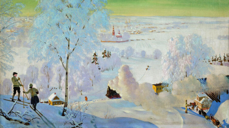 Б. М. Кустодиев, «Морозный день. Лыжники», 1919 г.