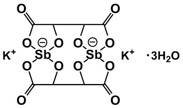 Химическая формула рвотного камня (антимонилтартрат калия)