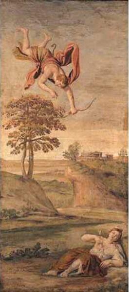 Фреска Доменикино, «Аполлон убивает Корониду», 1616−1618 гг.