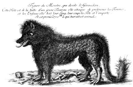 Гравюра, изображающая Жеводанского зверя с объявлением о награде за его голову, 1765 г.