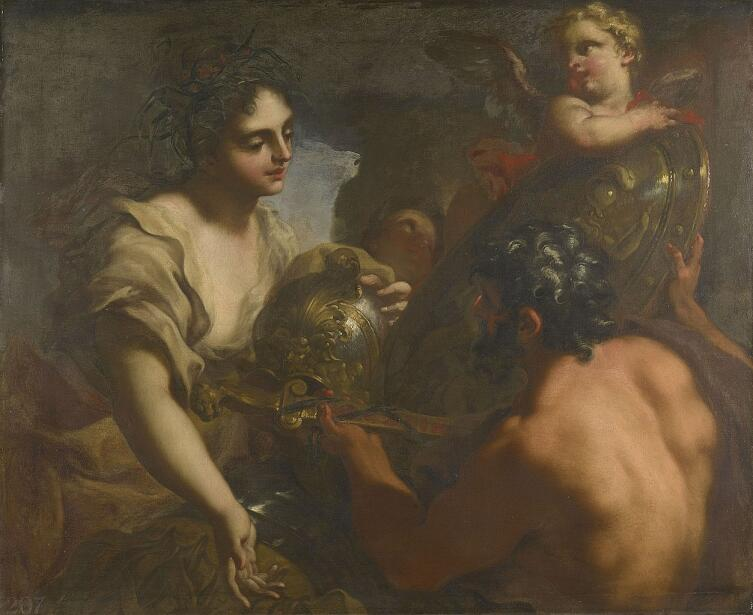 Антонио Баллеста, «Вулкан вручает Фетиде доспехи Ахилла», 1710г.