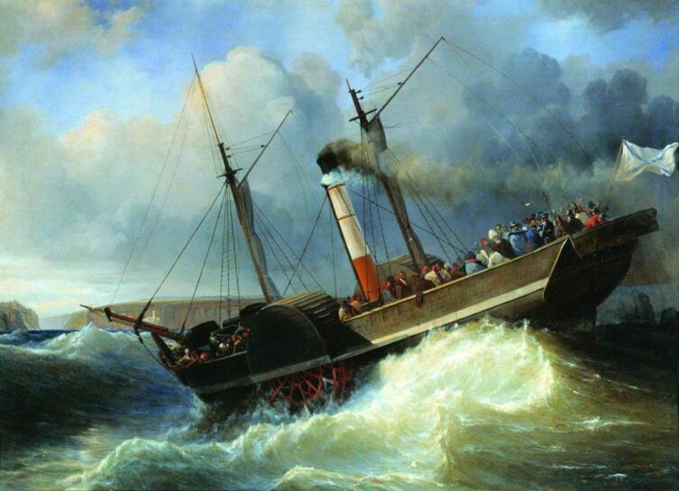 А. П. Боголюбов, «Пассажирский пароход Император Николай у Черноморского побережья», 1848 г.