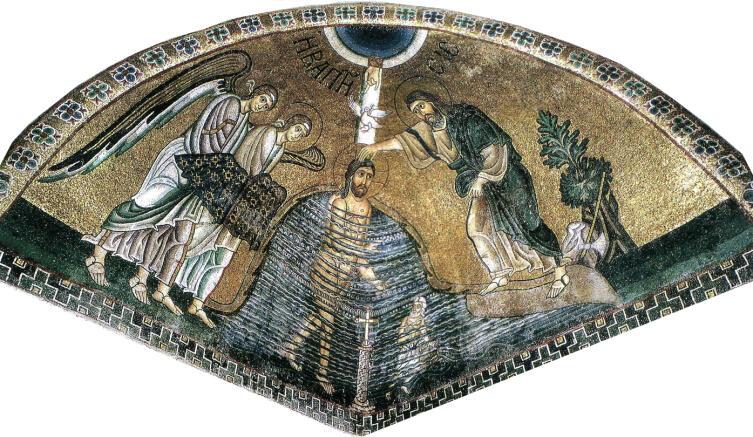 Крещение Господне. Мозаика, монастырь Осиос-Лукас, XI век