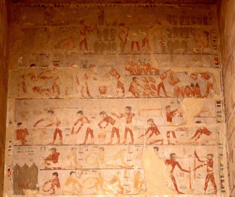Изображение пивоварения. Мастаба Ти. Египет
