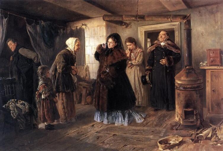 В. Е. Маковский, «Посещение бедных», 1874 г.