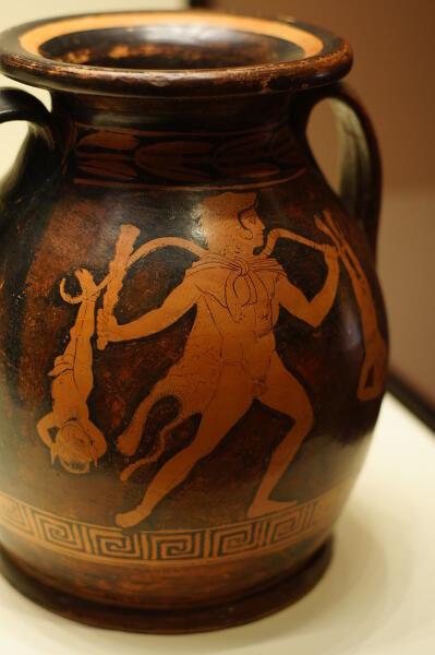 Геракл, несущий керкопов. Краснофигурная ваза, Аттика