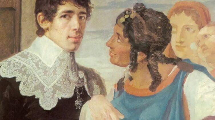 В. К. Шебуев, «Гадание. Автопортрет» (фрагмент), 1805 г.