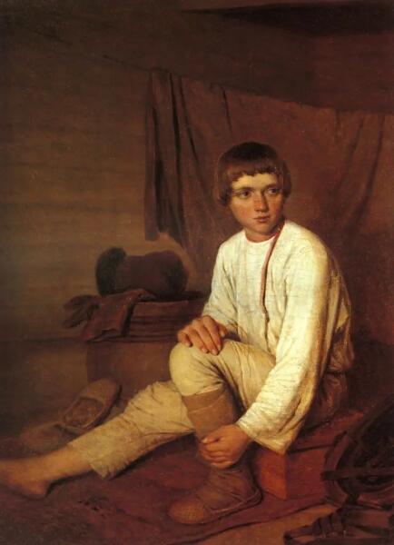 А. Г. Венецианов, «Крестьянский мальчик, надевающий лапти», 1842 г.
