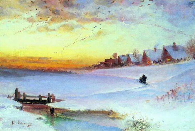 А. К. Саврасов, «Зимний пейзаж. Оттепель», 1890-е гг.