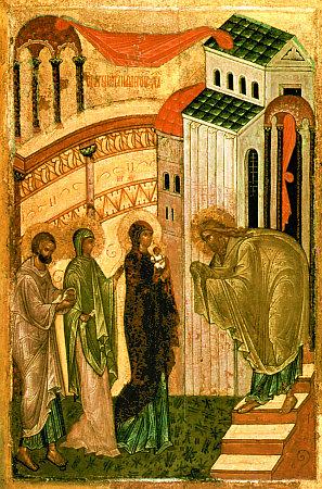Сретение Господне (новгородская икона конца XV века)