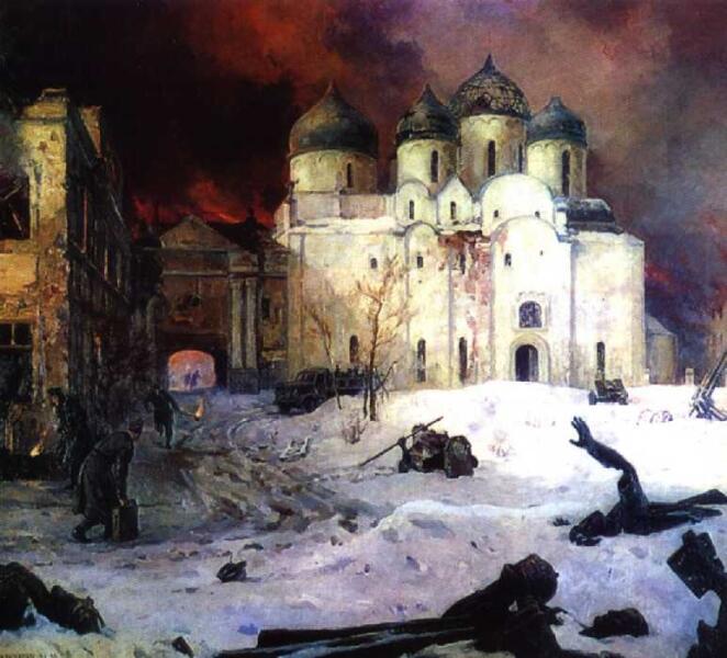 Кукрыниксы, «Бегство фашистов из Новгорода», 1944—1946 гг.