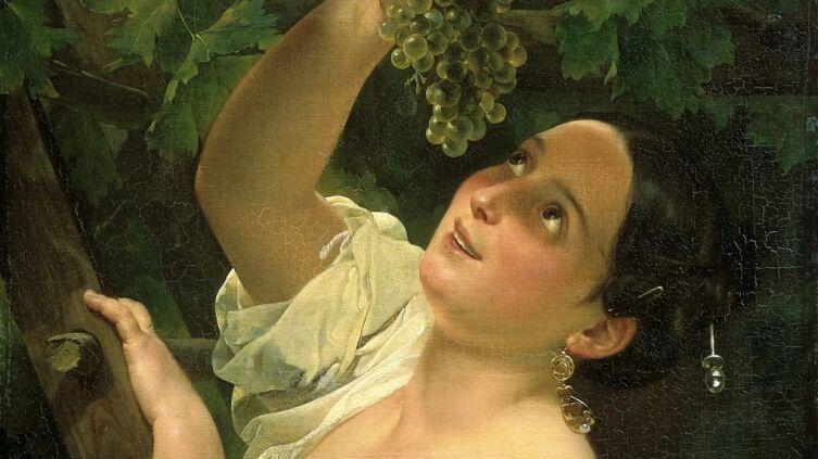 К. П. Брюллов, «Итальянский полдень (Итальянка, снимающая виноград)»  (фрагмент), 1827 г.