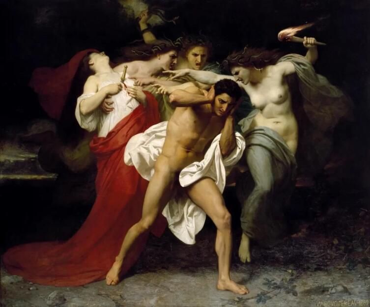 Вильям Адольф Бугро, «Орест, преследуемый Фуриями», 1862 г.