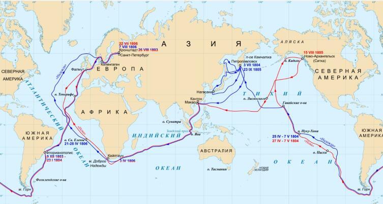 Маршрут первого русского кругосветного плавания