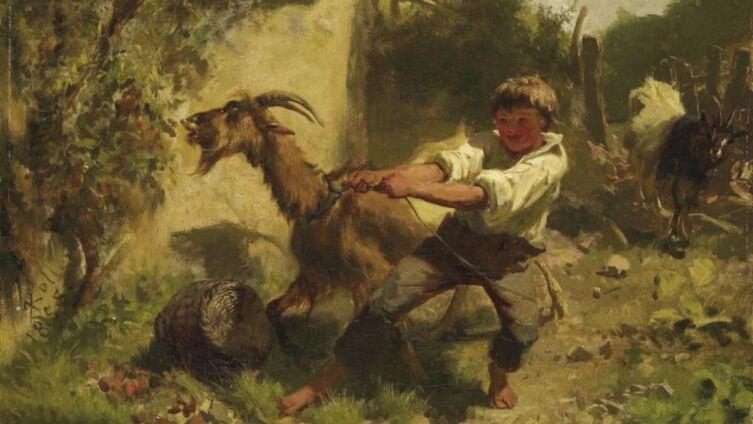 Рудольф Коллер, «Мальчик и козы», 1858 г.