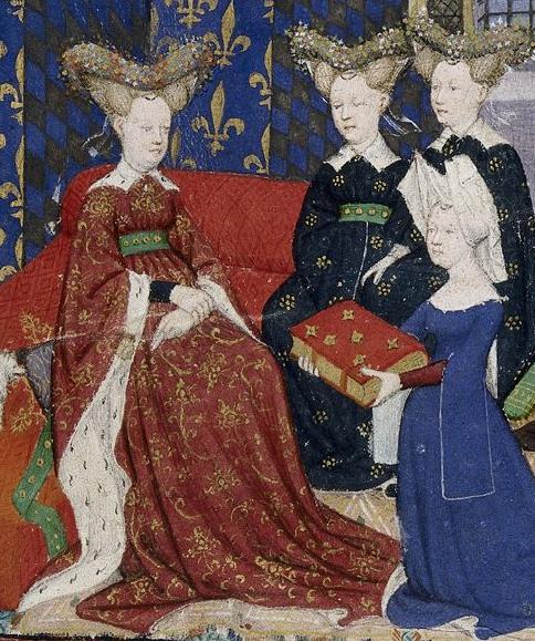 Кристина Пизанская преподносит свою книгу королеве Изабелле Баварской. Из рукописи XV в.