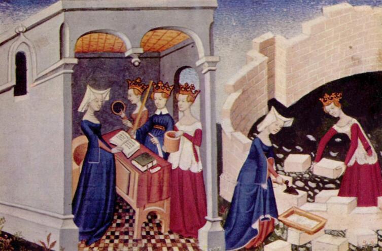 Иллюстрация к «Книге о Граде женском». Рукопись XV в.