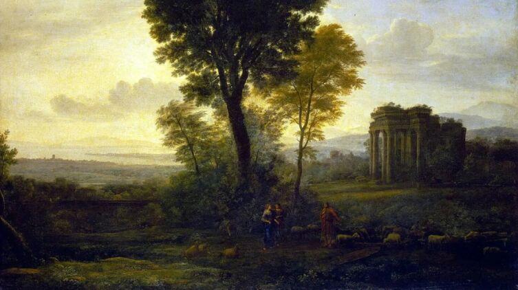 Желле Клод, «Пейзаж с Иаковом, Рахилью и Лией у колодца», 1537 г.