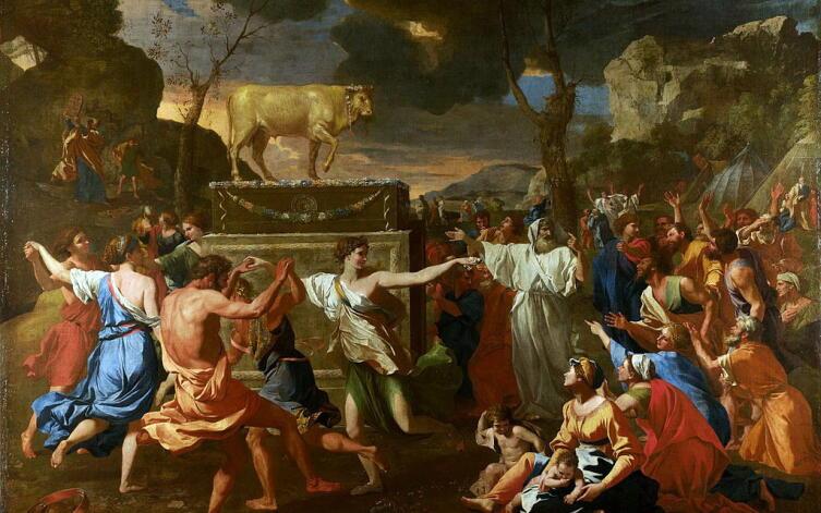 Никола Пуссен, «Поклонение золотому тельцу», 1633−1637 гг.
