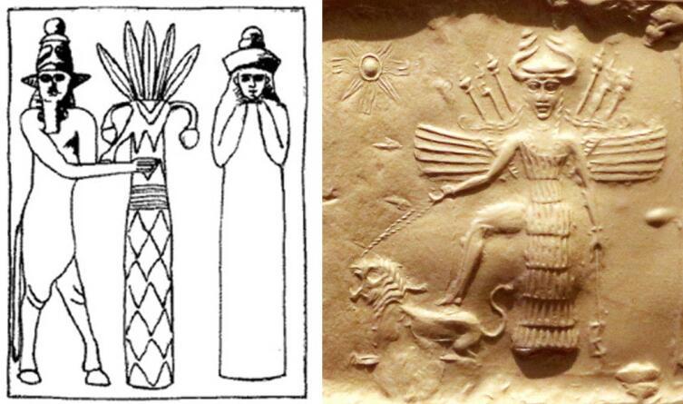 Слева — рисунок Энлиля и его жены Нинлиль, с настенной росписи Сузы, 2-я половинаII тысячелетия до н.э. Справа— богиня Иштар на фрагменте оттиска печати аккадского периода
