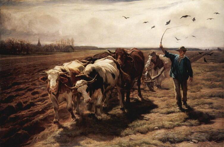 Рудольф Коллер, «Пахота на волах», 1868 г.