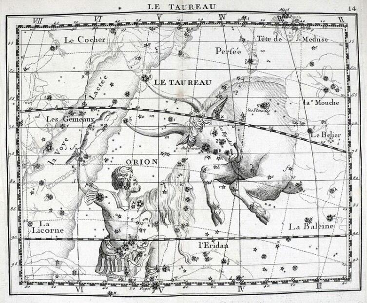 Созвездия Ориона и Тельца в звёздном атласе Дж. Флемстида