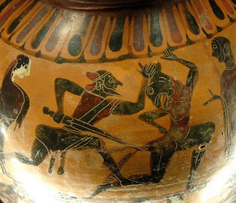 Сражение Тесея с Минотавром на древнегреческой вазе серединыVI в. до н. э.