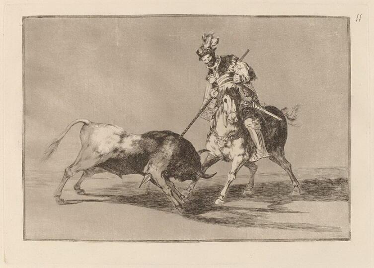 Франсиско Гойя, «Испанский рыцарь Эль Сид верхом на коне поражает копьем быка» (серия