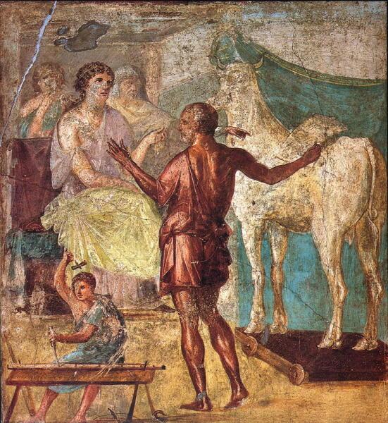 Дедал представляет Пасифае искусственную корову. Римская фреска, Помпеи, I век н.э.